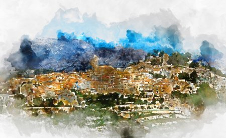 Digital watercolor painting of a spanish village P...