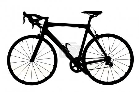 Photo for Silhouette of a road bicycle. Studio shot, isolated on a white background - Royalty Free Image