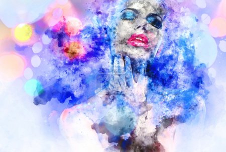 Photo for Beautiful woman with a bright make-up. Digital watercolor painting - Royalty Free Image