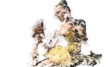 Photo for Ballerina. Digital charcoal drawing - Royalty Free Image