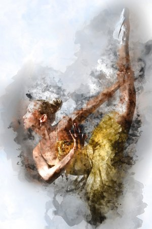 Photo for Lovely ballerina. Digital watercolor painting. - Royalty Free Image
