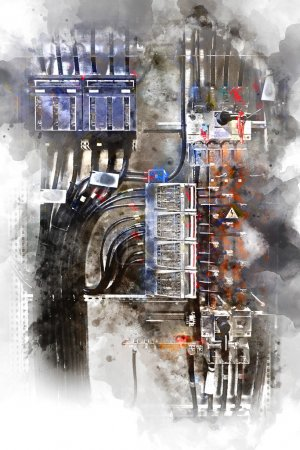 Photo for Electrical panel with fuses and contactors. Digital watercolor painting - Royalty Free Image
