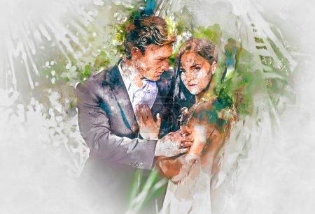 Photo pour Aquarelle numérique d'un beau couple amoureux - image libre de droit