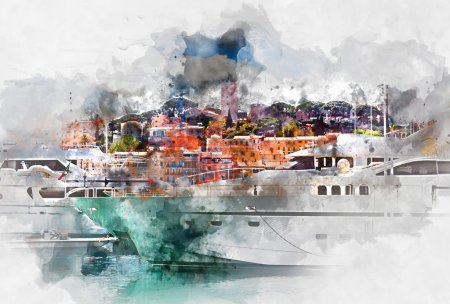 Photo for View of Le Suquet- the old town and Port Le Vieux of Cannes, France. Digital watercolor painting - Royalty Free Image