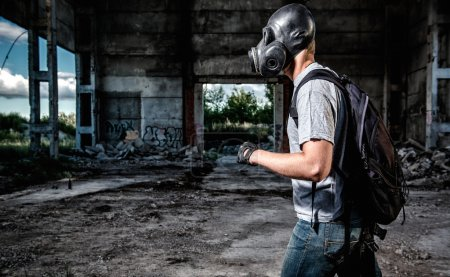 Photo for Man in a gas mask - Royalty Free Image