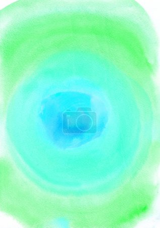 Watercolor abstract painting. Green, turquoise and blue colors