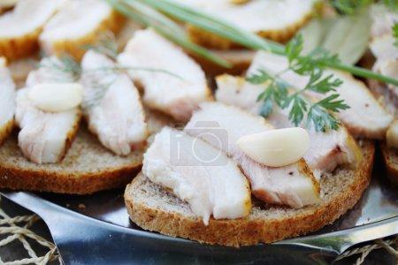 Ukrainian lard with garlic
