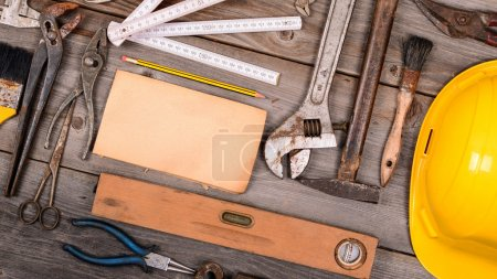Photo for Vintage construction tools background - Royalty Free Image