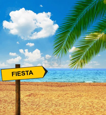 Tropical beach and direction board saying FIESTA