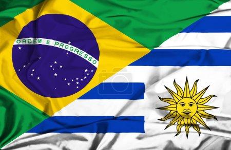 Photo pour Drapeau de l'Uruguay et du Brésil - image libre de droit