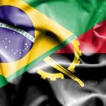 Постер, плакат: Waving flag of Angola and Brazil