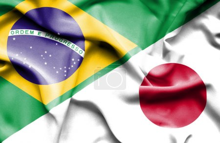 Waving flag of Japan and Brazil