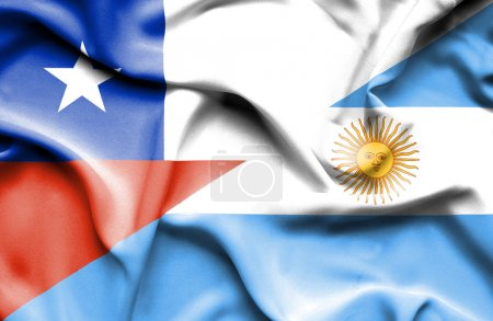 Waving flag of Argentina and Chile