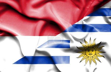 Photo pour Drapeau de l'Uruguay et de l'Indonésie - image libre de droit