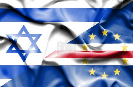 Waving flag of Cape Verde and Israel