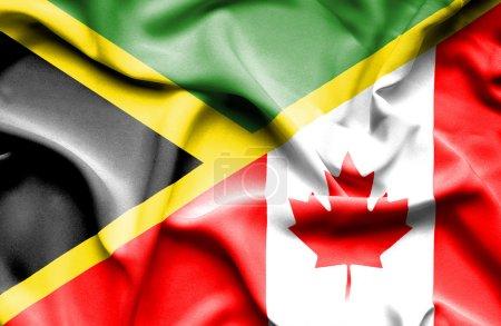 Waving flag of Canada and Jamaica