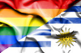 Waving flag of Uruguay and LGBT