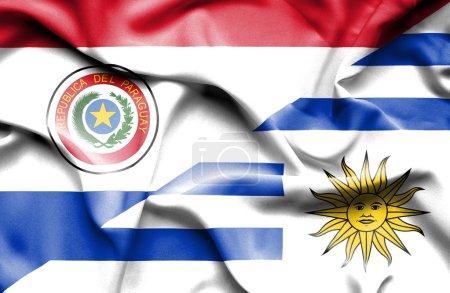 Photo pour Drapeau de l'Uruguay et du Paraguay - image libre de droit