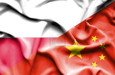 Waving flag of China and Poland