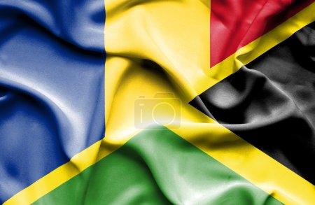 Waving flag of Jamaica and Romania