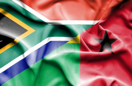 Waving flag of Guinea Bissau and South Africa...