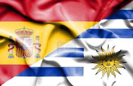 Photo pour Drapeau de l'Uruguay et de l'Espagne - image libre de droit