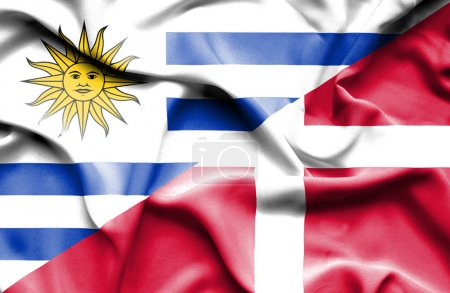 Photo pour Drapeau du Danemark et de l'Uruguay - image libre de droit