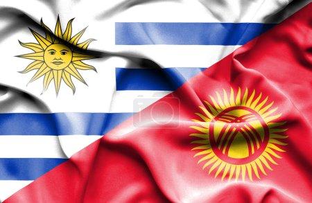Photo pour Drapeau du Kirghizistan et de l'Uruguay - image libre de droit