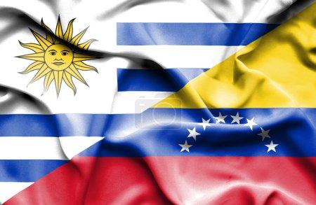 Photo pour Drapeau du Venezuela et de l'Uruguay - image libre de droit
