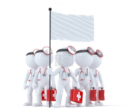 Group of doctors with blank flag. Isolated. Contains clipping path