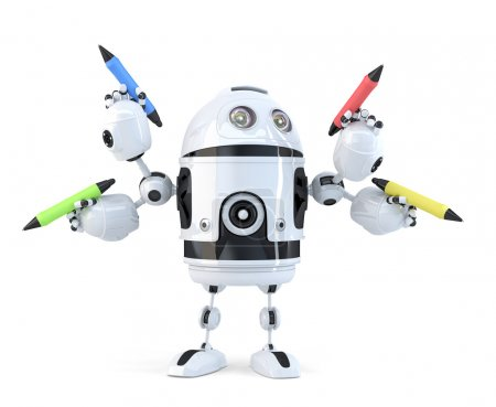 Robot with pencils. Multitasking concept. Isolated. Contains clipping path