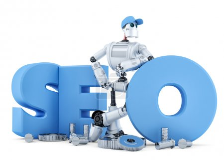 SEO Robot. Technology concept. Isolated. Clipping path
