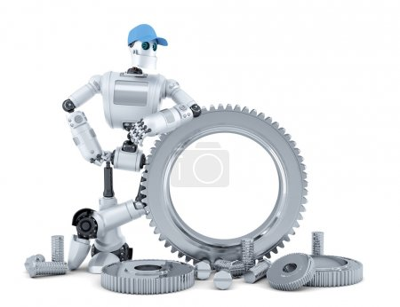 Photo for Engineer robot. Technology concept. Isolated over white. Contains clipping path - Royalty Free Image
