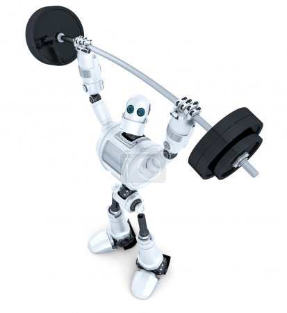 Robot with barbell. Technology concept. Isolated. Contains clipping path.