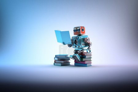 Robot sitting on a bunch of books. Contains clipping path