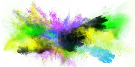 Photo for Explosion of colorful powder, isolated on white background - Royalty Free Image