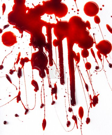 Photo for Splattered blood stains on white background, close-up. - Royalty Free Image
