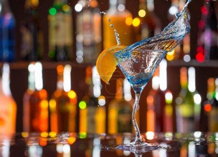 Fresh Cocktail on bar desk.