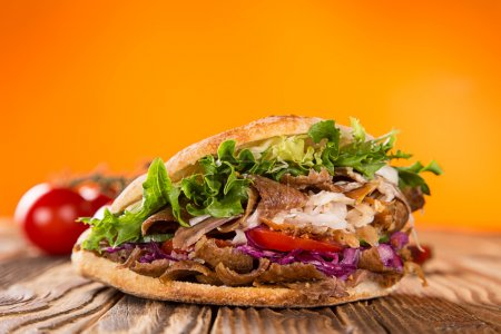 Photo for Close up of kebab sandwich on white background - Royalty Free Image