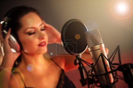 Young singer singing