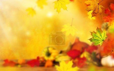 Photo pour Beau fond d'automne avec des feuilles d'érable - image libre de droit