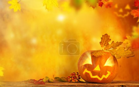 Scary jack o lantern halloween background