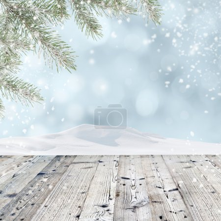 Photo for Winter background with wooden table - Royalty Free Image