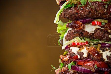 delicious big hamburger on wood