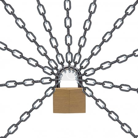 Photo for Metal chain and padlock on white background - Royalty Free Image