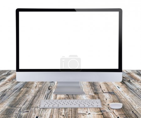 Photo for Computer display on wooden table. - Royalty Free Image