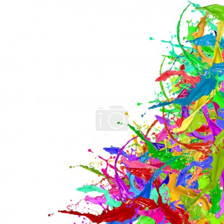 Photo for Colored splashes in abstract shape on white background - Royalty Free Image