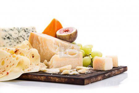 Photo for Various types of cheese on white background, still-life. - Royalty Free Image