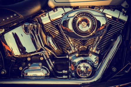 Photo for Close up of a high power motorcycle, classic vintage style. - Royalty Free Image