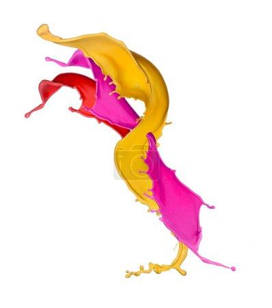 Photo pour Éclaboussures colorées en forme de bande, isolées sur fond blanc - image libre de droit